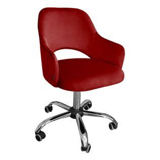 Fotel obrotowy MARCY / czerwony / noga chrom / MG31