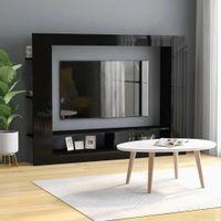 Szafka TV, wysoki połysk, czarna, 152x22x113 cm, płyta wiórowa