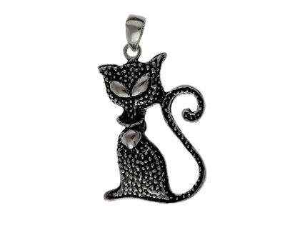 Oksydowany srebrny wisior wisiorek kote kotkek cat mruczek pupil srebro 925 W0358