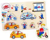 POLICJA Układanka Drewniana PINEZKI Puzzle Playme