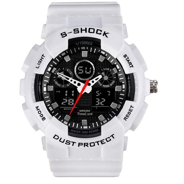 Męski Elektroniczny Zegarek S-SHOCK Trzy Kolory Biały Czerwony Czarny zdjęcie 1