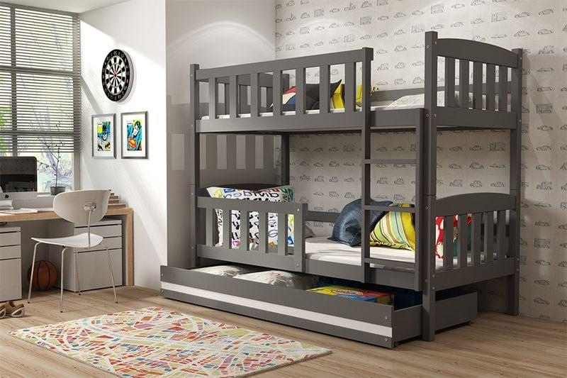 Łóżko piętrowe dla dzieci Kubuś 190x80 dziecięce + MATERAC + SZUFLADA zdjęcie 4