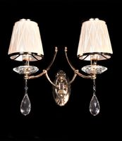 Lampa Ścienna Kinkiet Kryształowy Złoty Dominni W2
