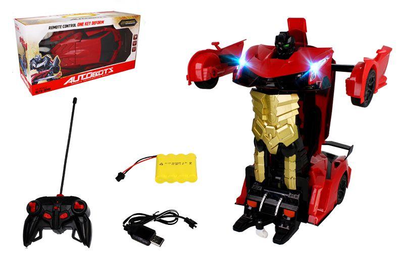 Transformer auto robot sterowany pilotem / ręką USB CZERWONY Z181C na Arena.pl