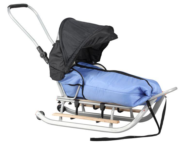 SANKI dla dzieci z budką, śpiworem, popychaczem, podnóżki + kółka zdjęcie 3