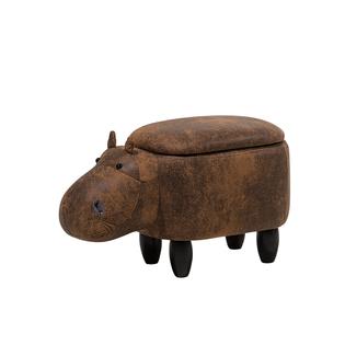 Pufa Zwierzak Ze Schowkiem Ekoskóra Brązowa Hippo