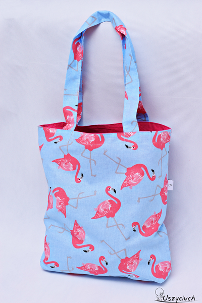 53e32d115a64f Torba na zakupy bawełniana shopperka eko torba zakupowa flamingi pink  zdjęcie 1