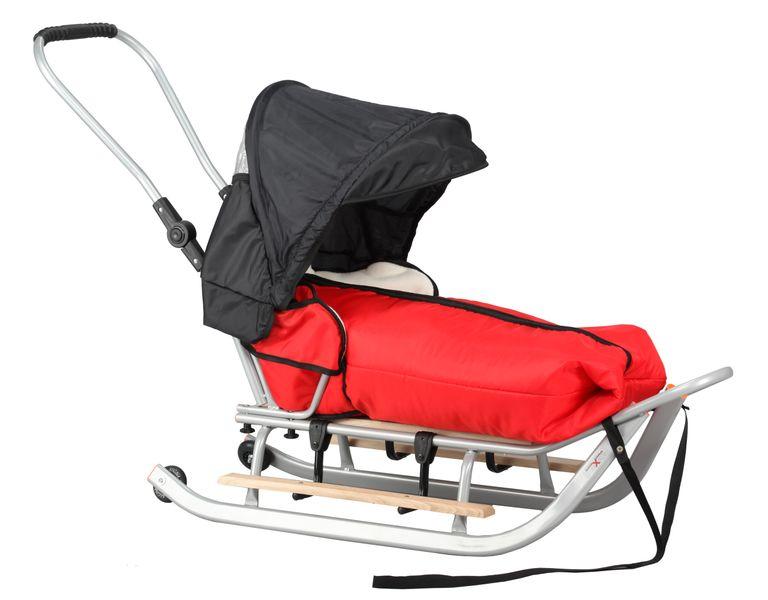SANKI dla dzieci z budką, śpiworem, popychaczem, podnóżki + kółka zdjęcie 15