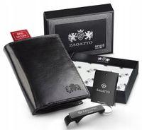 Skórzany portfel męski Zagatto prezent RFID zestaw