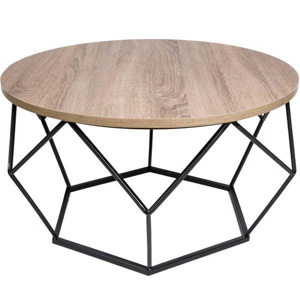 Stolik kawowy geometryczny Diament w kolorze czarny - ciemny dąb 70 cm zdjęcie 1