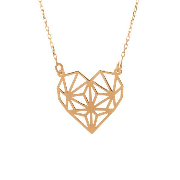 Złoty Naszyjnik Celebrytka Serce Origami Grawer zdjęcie 1