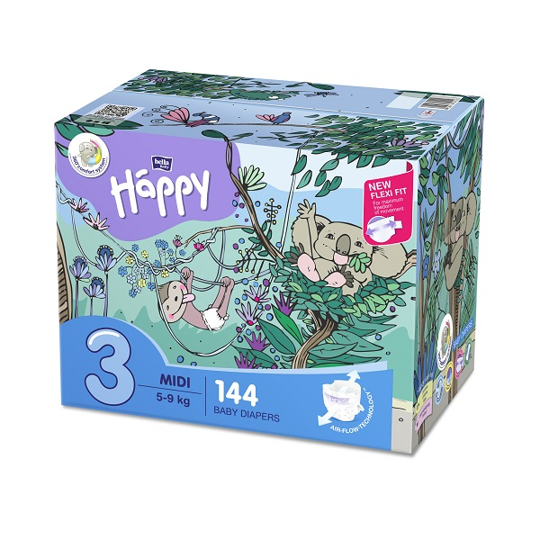 Pieluszki dla dzieci Bella Baby Happy New Flexi Fit Midi BOX 144szt. na Arena.pl