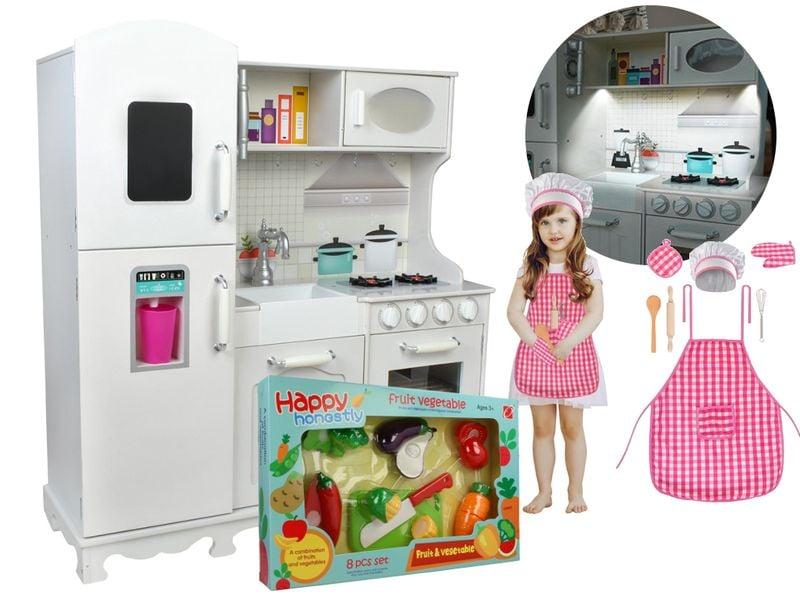 Kuchnia Drewniana Dla Dzieci Led Mega Zestaw I Akcesoria Z370f