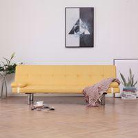 Kanapa rozkładana z dwiema poduszkami żółta poliester VidaXL