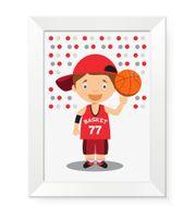 Obrazek dla dziecka dzieci w ramce na ścianę KOSZYKARZ