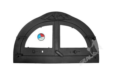 DRZWI C09 - 47X77 CM + TERMOMETR 0-250°C do pieca pizzy pizzeria żeliwne