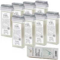 8 x ItalWax Top Line Pearl hipoalergiczny syntetyczny wosk żelowy do skóry wrażliwej do depilacji w rolce 100ml + paski GRATIS