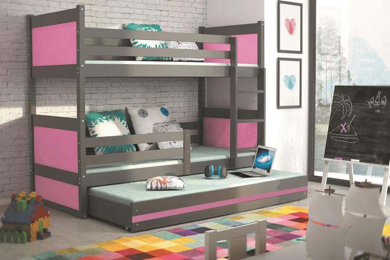 Łóżko meble dla dzieci drewniane Mateusz 190x80 piętrowe 3osobowe zdjęcie 10