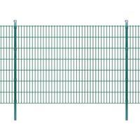 2D Panele i słupki ogrodzeniowe 2008x1430 mm 12 m zielone VidaXL