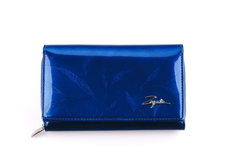 Mały portfel skórzany damski Zagatto granatowy liście RFID ZG-113 Leaf zdjęcie 2
