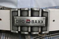 CIPO BAXX PASEK MĘSKI SKÓRA KLAMRA WHITE~100 CM