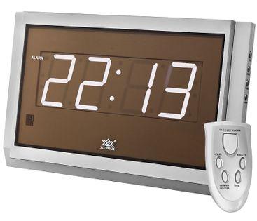 XONIX 2502 Zegar z budzikiem na pilota, LED / LCD, zasilany sieciowo, alarm, drzemka