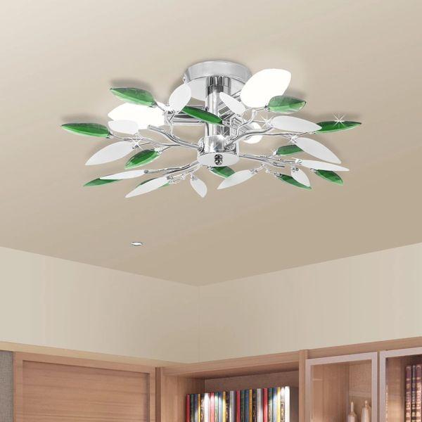 Lampa sufitowa, plafon, białe i zielone listki 3 żarówki E14 zdjęcie 1