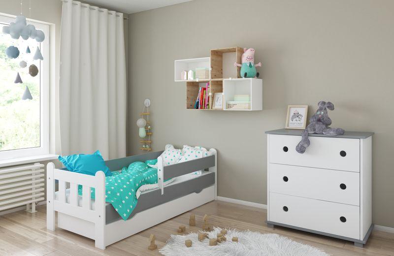 Łóżko STAŚ 140 x 70 z szufladą + barierka ochronna + MATERAC GRATIS zdjęcie 4