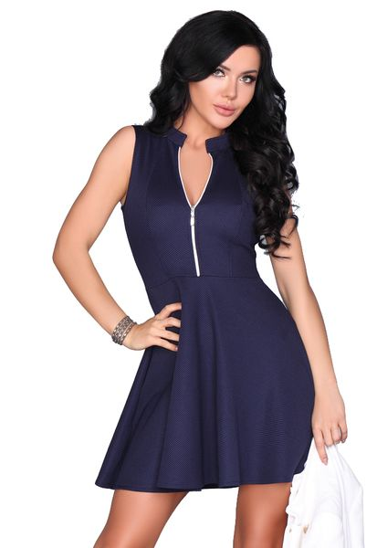 Rozkloszowana elegancka Sukienka z zamkiem w dekolcie granatowa XL zdjęcie 1