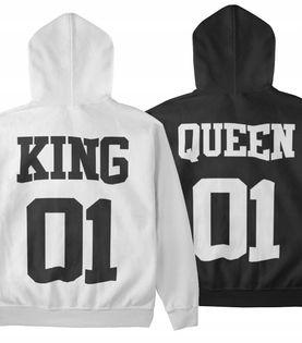 Bluzy dla par z kapturem komplet zestaw KING QUEEN