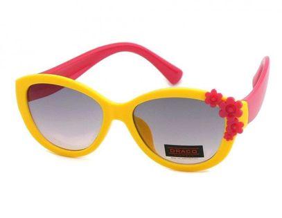 Okulary przeciwsłoneczne dziecięce UV 400, z KWIATUSZKAMI żółto-czerwone