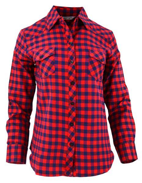 Damska koszula w drobną czerwono granatową kratkę Rozmiar  H6fOk