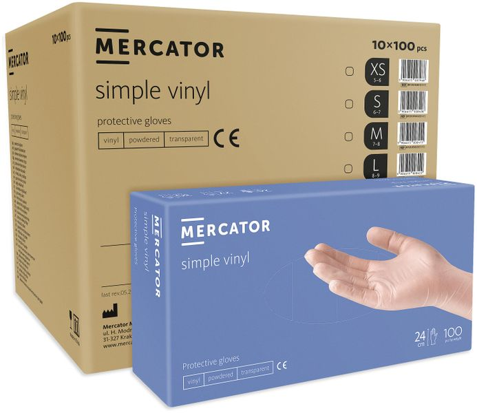 Rękawice winylowe pudrowane MERCATOR® simple vinyl XL karton 10X100szt na Arena.pl