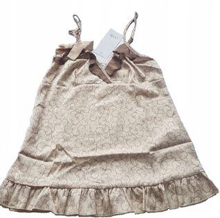 Oodji damska piżama 2 częściowa beżowo-brązowa r.M