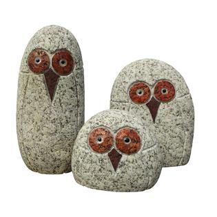 Figurki sowy granitowe zestaw 3 sztuki