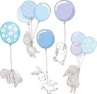 NAKLEJKI na ścianę ZAJĄCE BALONY z balonami króliki ZESTAW dzieci S