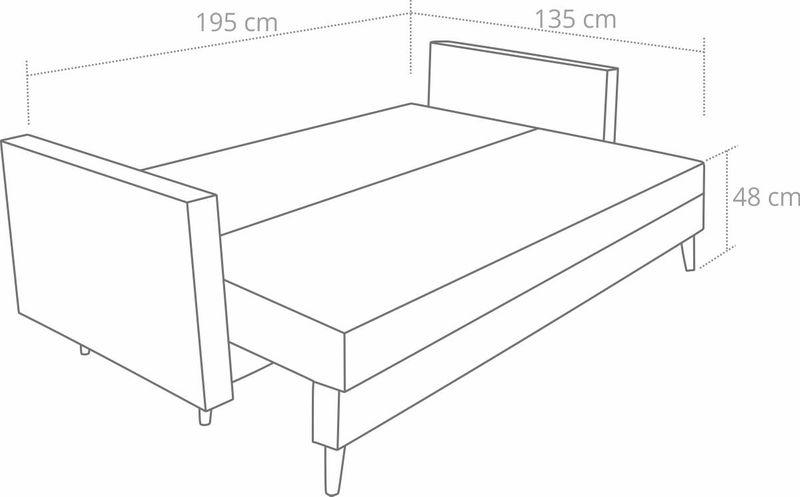 Kanapa rozkładana z funkcją spania na sprężynach, zmywalna sofa Lahti zdjęcie 5