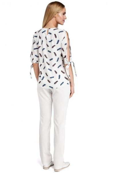 Bluzka koszula biała pióra poliester krótki wiązany rozcięty rękaw łódka zdjęcie 2