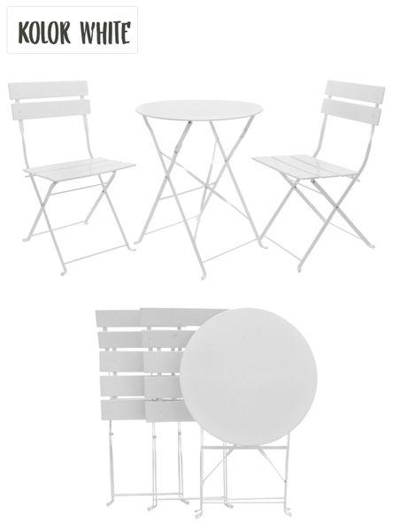 Meble Ogrodowe Balkonowe Solar White Zestaw Mebli Stół2 Krzesła Stal