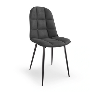 4x Krzesło Tapicerowane Pikowane Popiel Welur