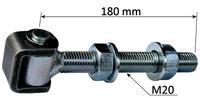 Zawias regulowany długi M20, L180, gwint 160 mm - do furtki bramy
