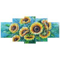 OBRAZ MALOWANY ZE ZDJECIA  Słoneczniki w niebieskim 150x70