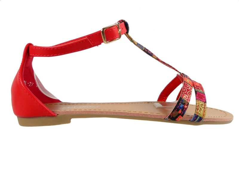Sandały damskie czerwone Desun letnie