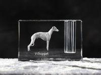 Whippet - kryształowy stojak na długopis z wizerunkiem psa, pamiątka, dekoracja, kolekcja.