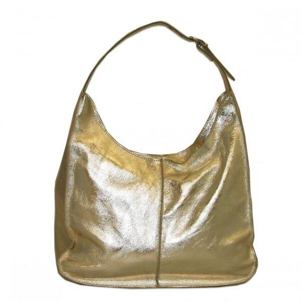 a7cd1d38d7455 Borsa in Pelle worek skórzana torebka damska metaliczna złota na ramię  zdjęcie 1