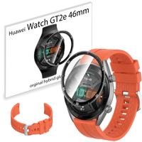 Pasek sportowy opaska i szkło 3D do Huawei GT2e 46mm pomarańczowy