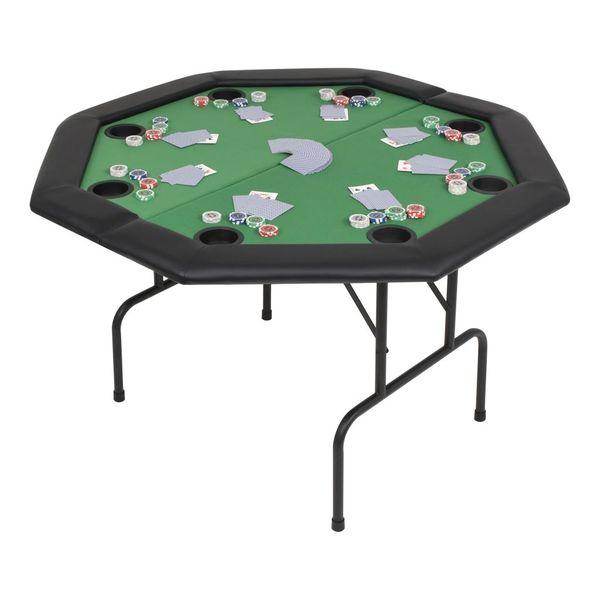 Składany stół do pokera dla 8 graczy, ośmiokątny, zielony zdjęcie 1