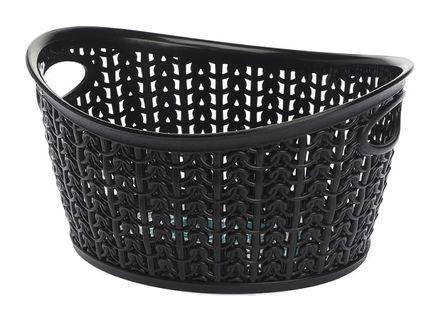Koszyk kosz owalny organizer WILLOW 1,5 l czarny ażurowy sweterkowy wzór