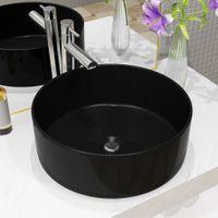 Umywalka ceramiczna, okrągła, 40 x 15 cm, czarna
