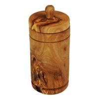 Wysoki pojemnik na przyprawy z drewna oliwnego